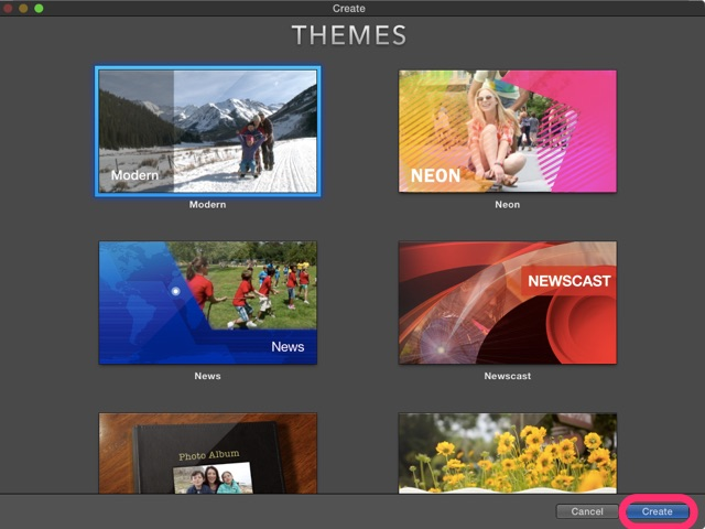 imovie project themes