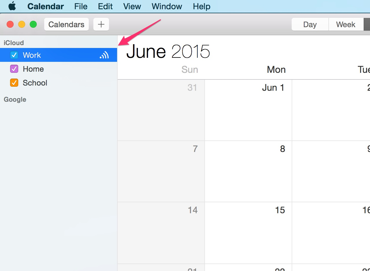 Hover over calendar and click the Share button.
