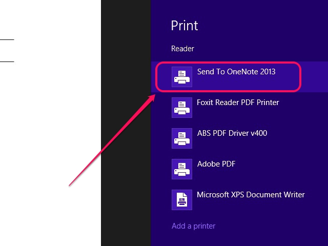 Select the OneNote printer.