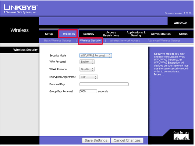 Wireless security settings can be included with other wireless settings or on their own page.