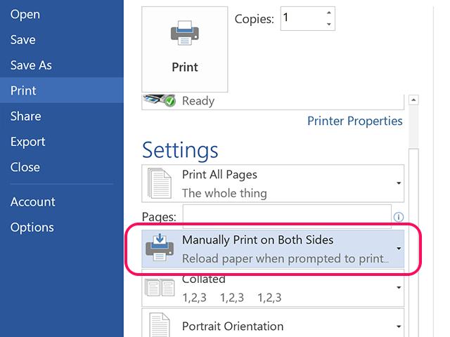 Click Manually Print on Both Sides.
