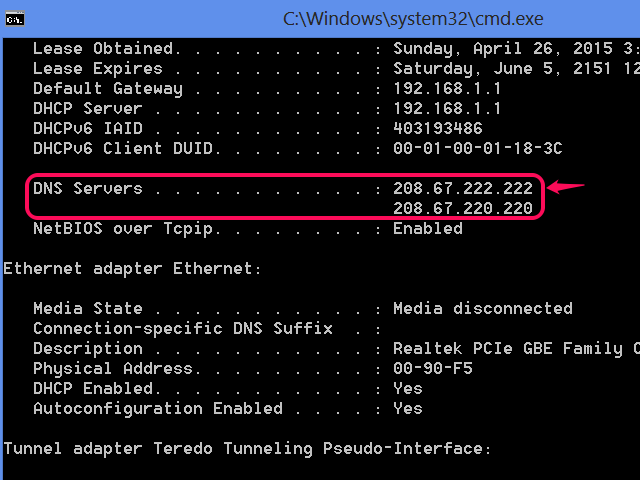 Ipconfig showing DNS servers