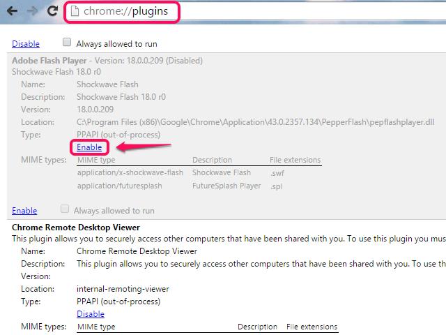 Chrome plug-ins page.