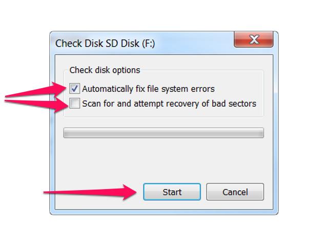 Check Disk dialog