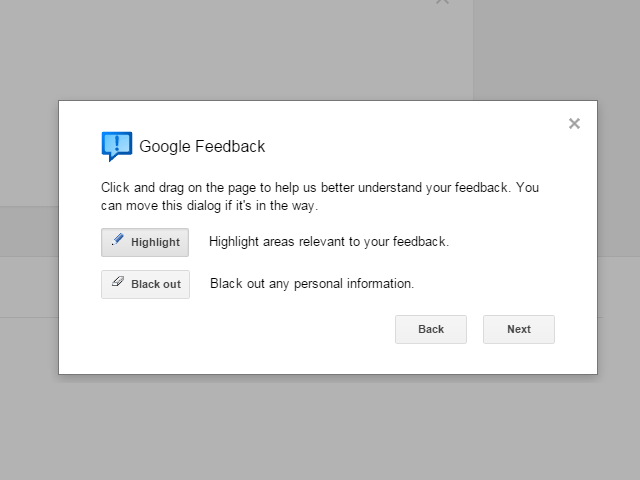 Google Feedback Tools Popup Window