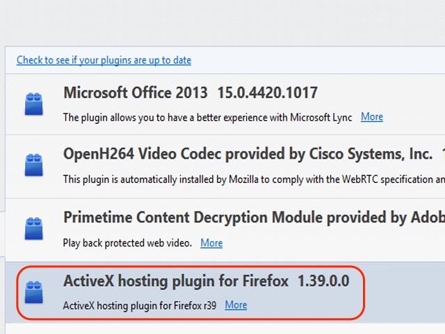 Locate the ActiveX plugin.