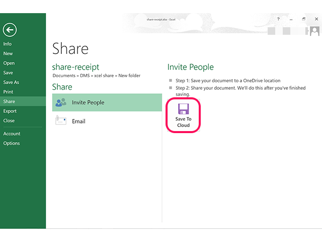 Click the Send to Cloud icon to save the file to OneDrive.