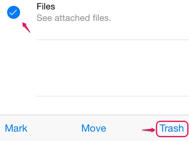 Trashing emails