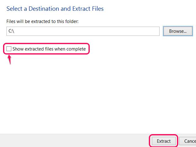 Windows Extract All dialog box