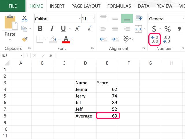 Increase the decimal numbers in Excel.