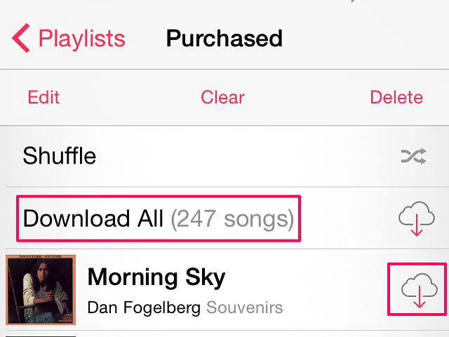 The Cloud icon shows music you haven't downloaded to your iPhone.
