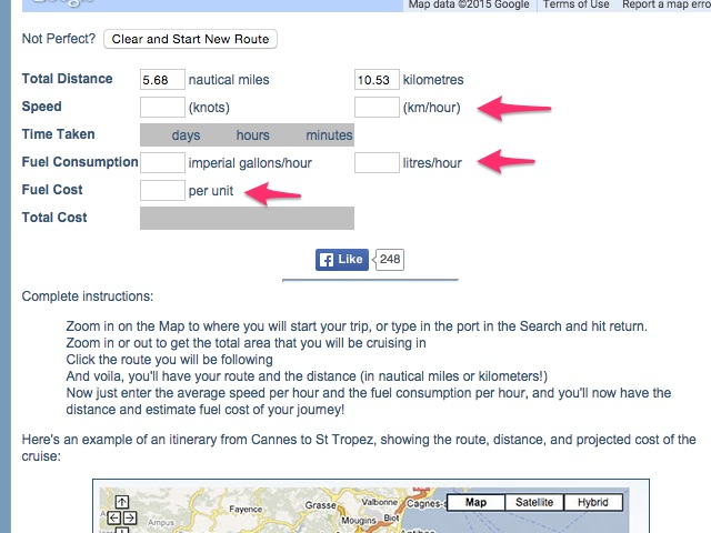 Enter data about your boat and fuel costs.