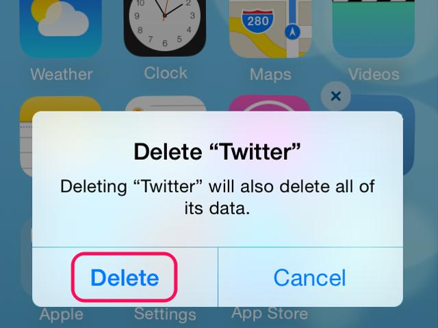 Tap Delete to remove the app.