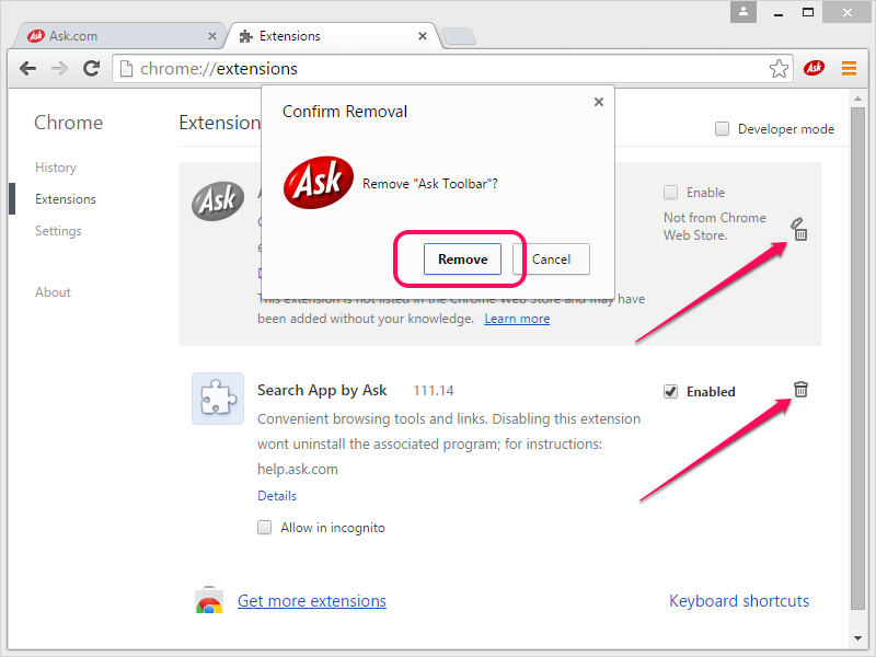 Removing the Ask extensions from Chrome.