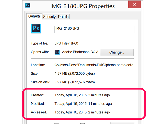 The date and time the file was created, modified and accessed is displayed.