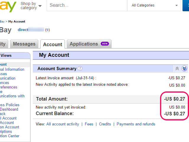My eBay Account page, with account balance highlighted.