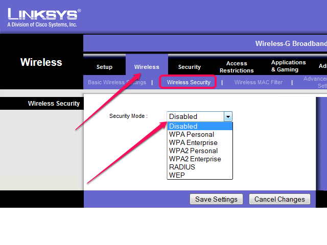 The Security Modes in the Linksys Web interface.