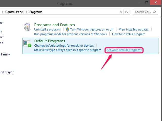 Click Set Default Programs.