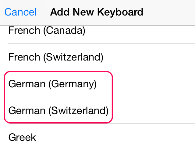 Select a German language keyboard to add to the iPhone.
