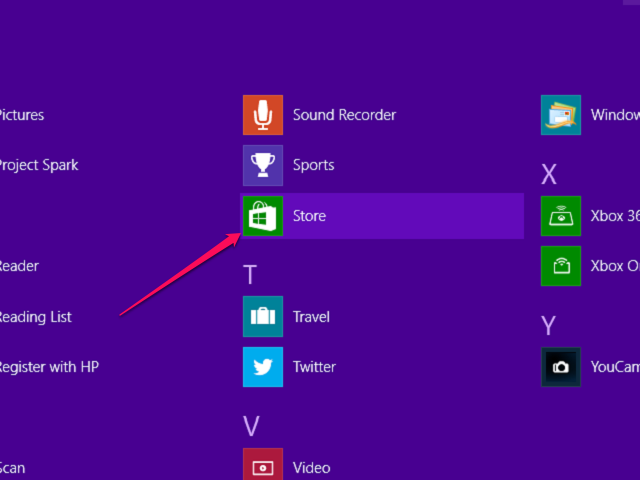 Click the Microsoft Store Icon
