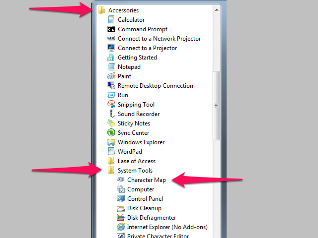 Character Map is located within the System Tools subfolder of the Accessories folder.