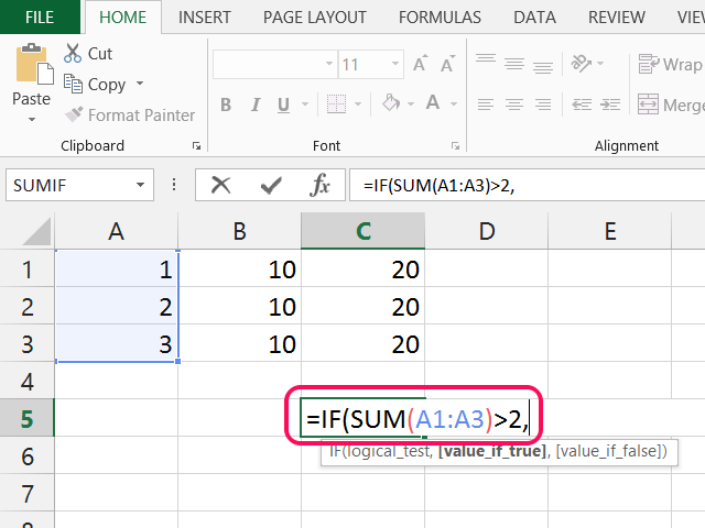 IF function checking for the sum of A.
