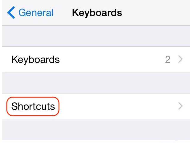 Tap Shortcuts.
