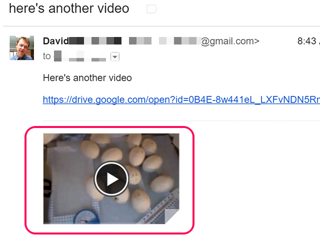 Google Drive videos are embedded in Gmail.