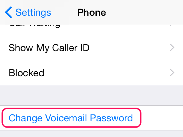 Tap Change Voicemail Password in the Phone menu.