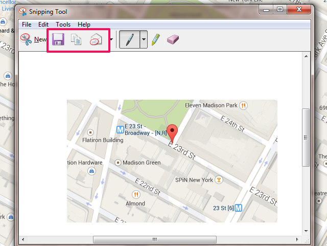 Email Google Maps with the Windows Snipping Tool