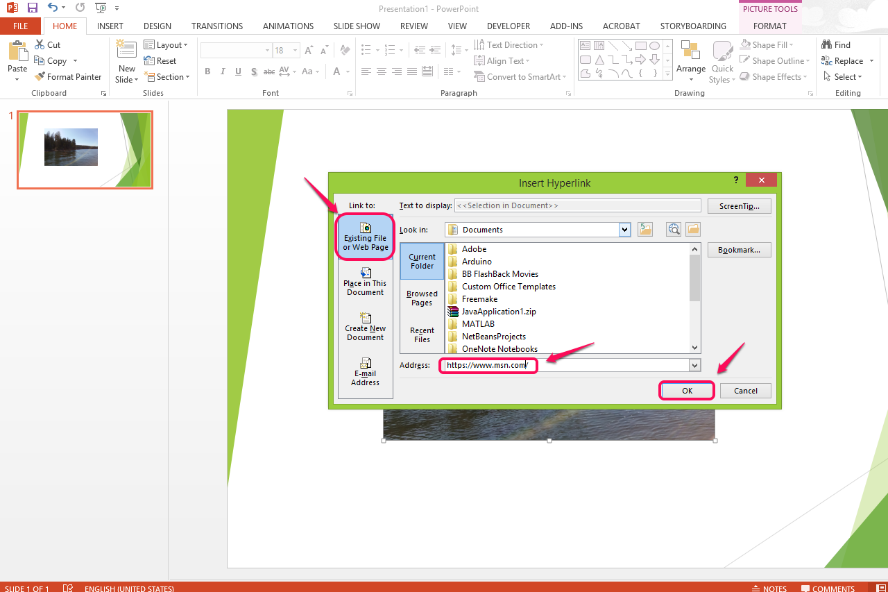 how to add hyperlink to outlook