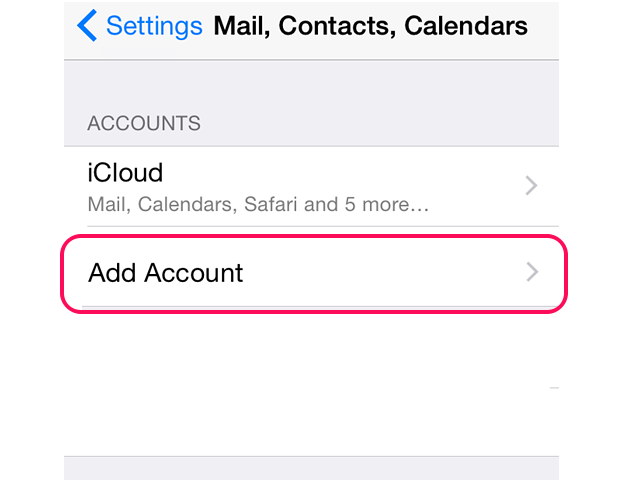 Select Add Account in the Mail, Contacts, Calendars menu.