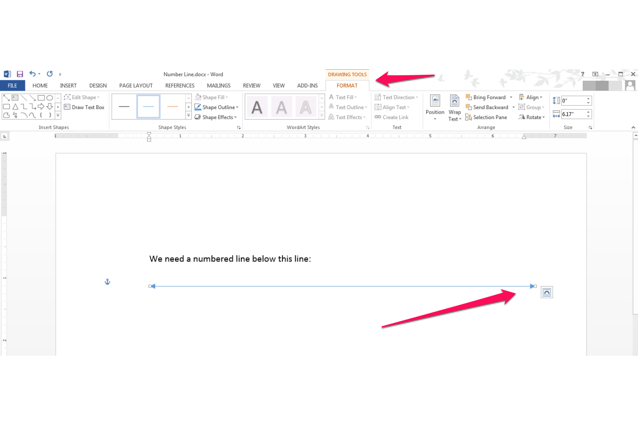 how to put a straight line in word
