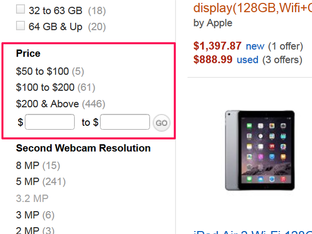 Search by price range in Amazon