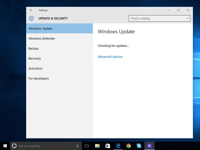 Windows Update on Windows 10.