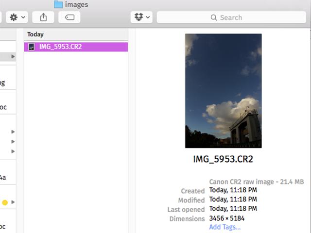 A CR2 file displayed in Finder.