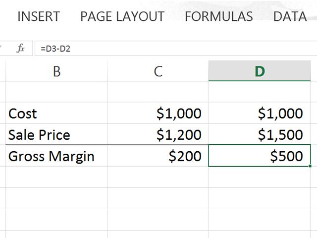 Excel calculates the gross margin as $500.