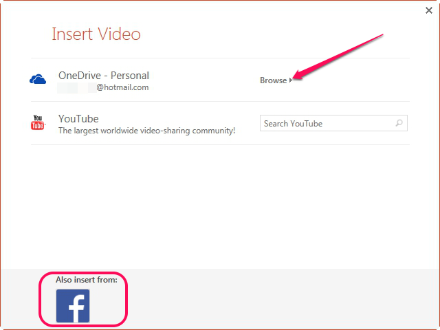 Inserting video from OneDrive or Facebook.