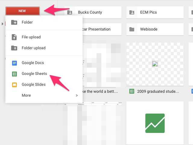 Click New, and then Google Sheets.