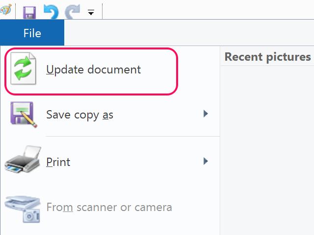 Click Update Document.