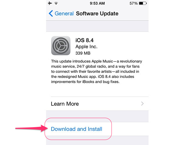 Select Download and Install and then Install