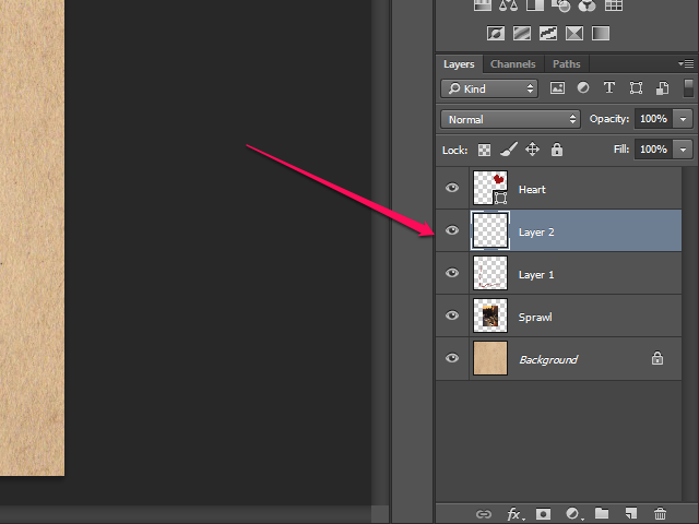 The Layers panel in Photoshop.