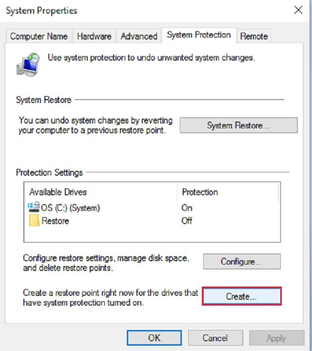 'Create' in the 'System Properties' box will create your first restore point.