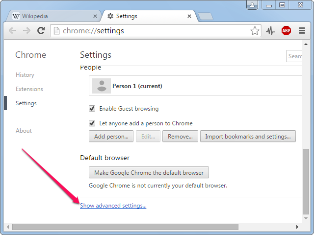Clicking Show Advanced Settings.