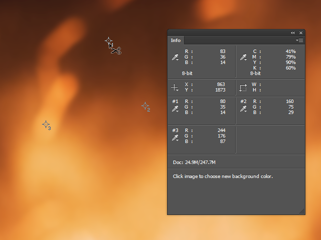 An image in Photoshop, with three sample points and the Info panel visible.