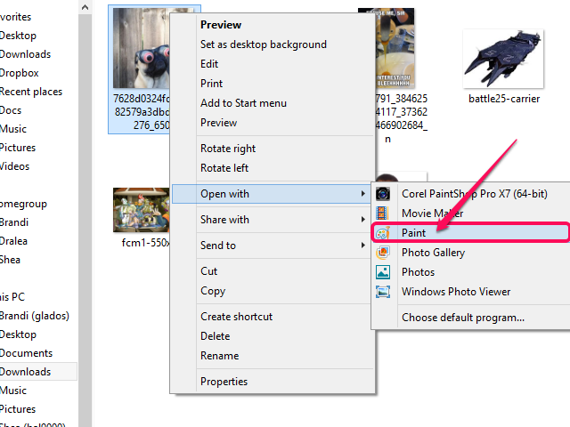 The context menu, set to open the file with Paint.