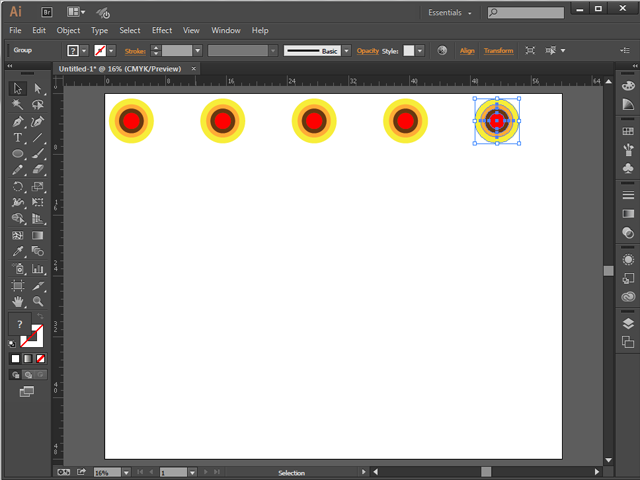 Screenshot of an Illustrator canvas with five duplicated graphics.