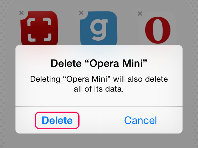 Confirm deleting the app and its data.
