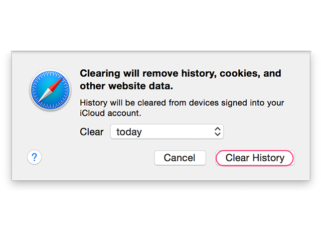 Clear history and data from Safari