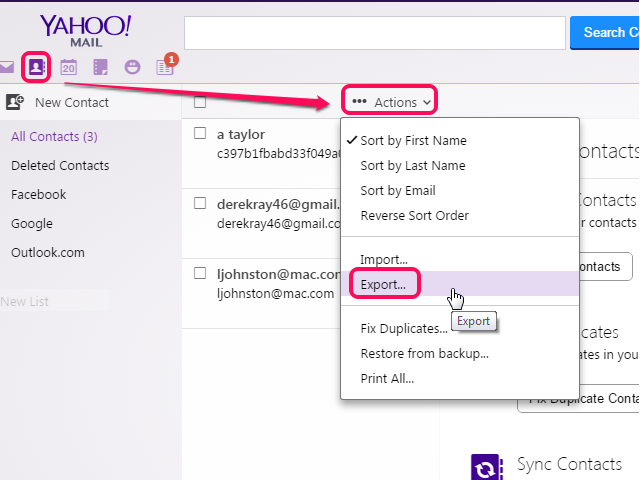 Yahoo Export dialog